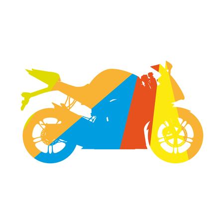 Motorcycle, colored silhouette sport bike 向量圖像