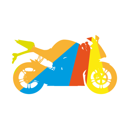 Motorcycle, colored silhouette sport bike Illustration