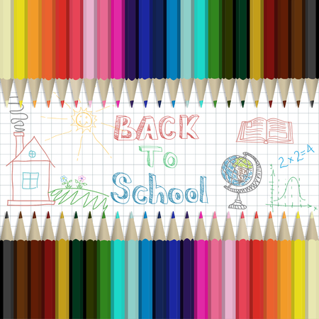 Pencils multicolored abstract background Back to School Illustration