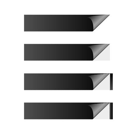 sticker banner black Ilustrace