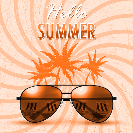 Hello Summer. Summer background/banner. Vector Illustration  イラスト・ベクター素材