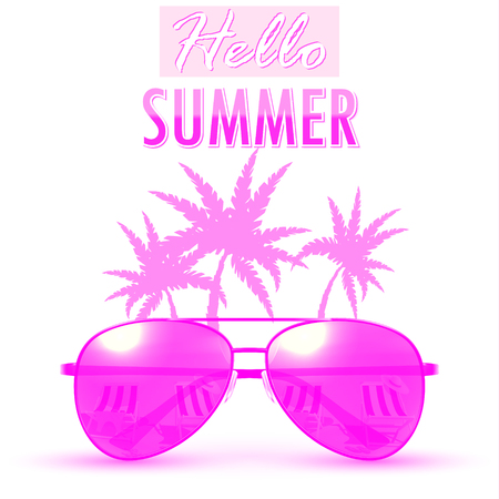 Hello Summer. Summer backgroundbanner. Vector Illustration