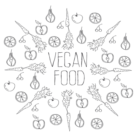 vegan food background Illustration
