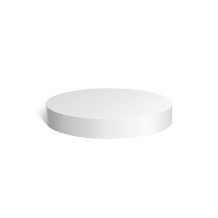 topper: White cylinder. 3D geometric shape. mock up. Vector Illustration