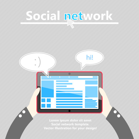 Social network. Tablet computer in hand. Flat design. Vector Illustration
