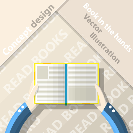 Read books. Open book in hands. Flat design. Vector Illustration