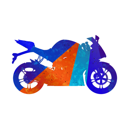 Motorcycle, grunge silhouette sport bike