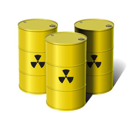 brassy: Barrel with sign Radiation. Vector illustration