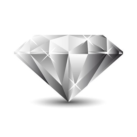 Diamant die op een witte achtergrond wordt geïsoleerd. Vector illustratie