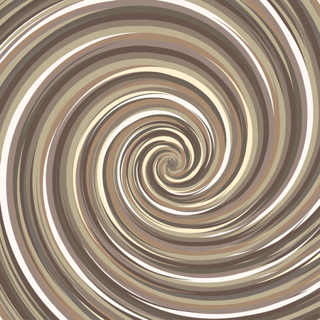 Swirling backdrop. Spiral surface nut color with space for text. Chocolate and coffee concept. Vector Illustration