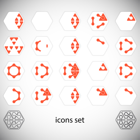 hexahedral: Abstract icons set. Vector Illustration