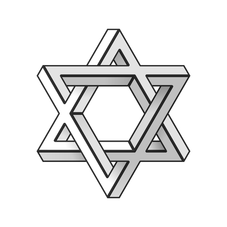 An Impossible star of David. Vector Illustration