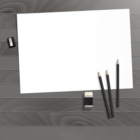 Workplace art board, paper, pencils, eraser and sharpener realistic plastic on a wooden background Illusztráció