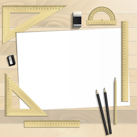Workplace art board, paper, ruler, protractor, pencils, eraser and sharpener realistic on a wooden background