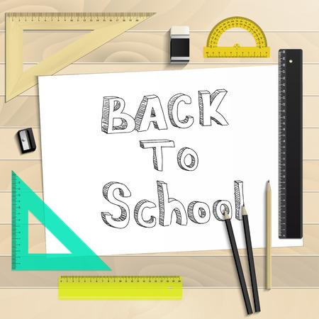 Workplace art board, paper, ruler, protractor, pencils, eraser and sharpener realistic plastic on a wooden backgroundBack to School Ilustração