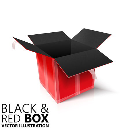 pasteboard: Black and red open box 3D vector illustration, design element
