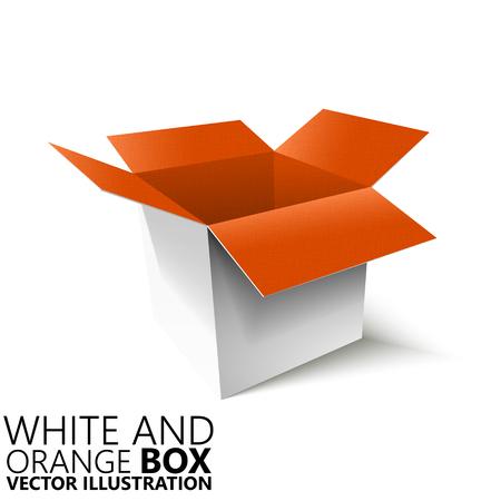 White and orange open box 3D vector illustration, design element Illustration
