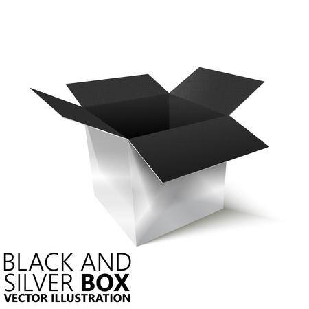 pasteboard: Black and silver open box 3D vector illustration, design element