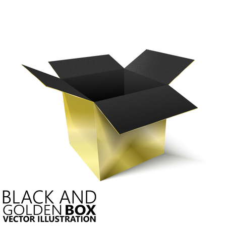 Black and golden open box 3D vector illustration, design element Illustration