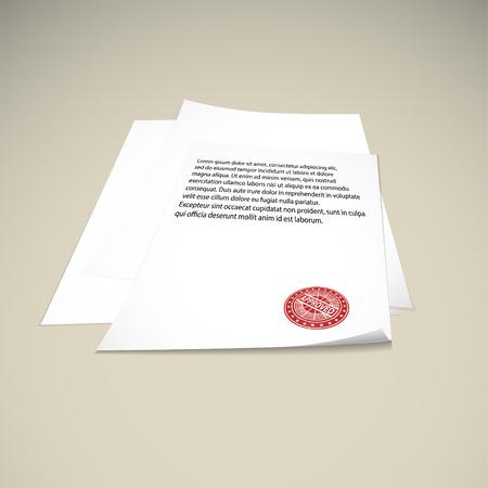 Paper on a beige background mock up. rubber stamp approved. Vector illustration