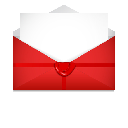 Open envelope. Sealing wax. St. Valentines Day concept. Vector Illustration