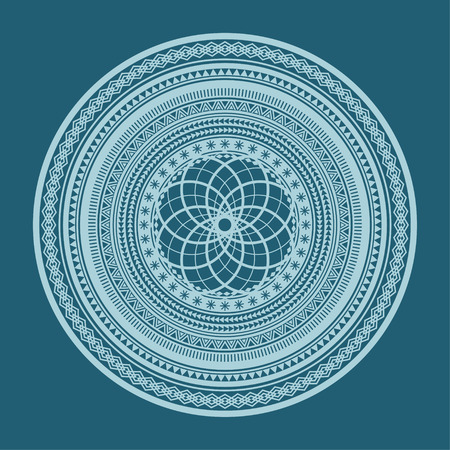 Abstract geometric ornament on a blue background Illustration