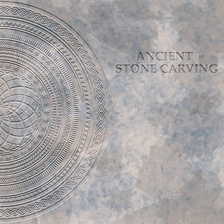 Ancient stone carving geometric patternornament