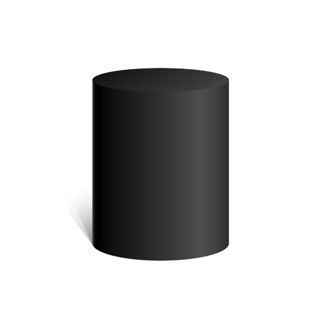Black cylinder. 3D geometric shape. mock up. Vector Illustration