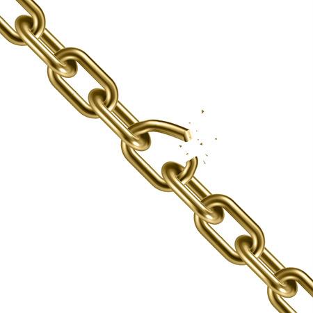 Metal golden broken chain 3D. Freedom concept. Vector illustration.