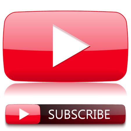 Play button for video player and a button to subscribe. Vector Illustration