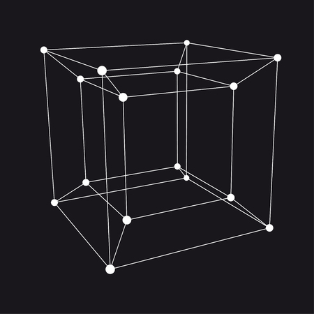 Hypercube 3D object. Vector Illustration