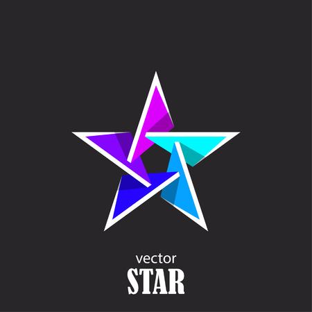 Star flat 3D abstract symbol. Popularity concept. Vector Illustration