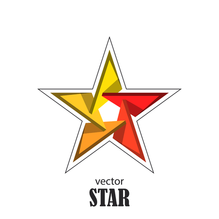 renown: Star flat 3D abstract symbol. Popularity concept. Vector Illustration