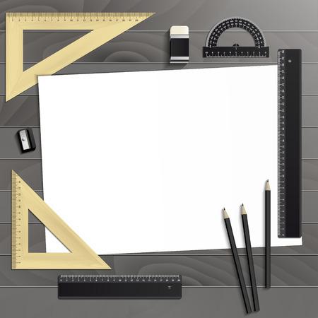Workplace art board, paper, ruler, protractor, pencils, eraser and sharpener realistic plastic on a wooden background Ilustração