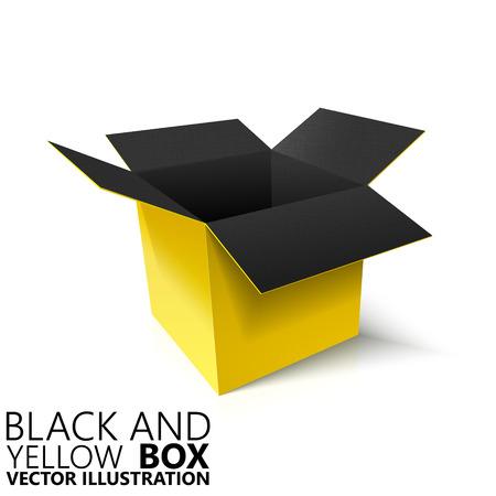 pasteboard: Black and yellow open box 3D vector illustration, design element Illustration