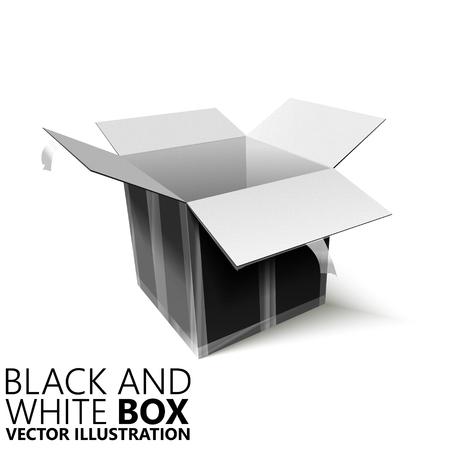 Black and white open box 3D vector illustration, design element Illustration
