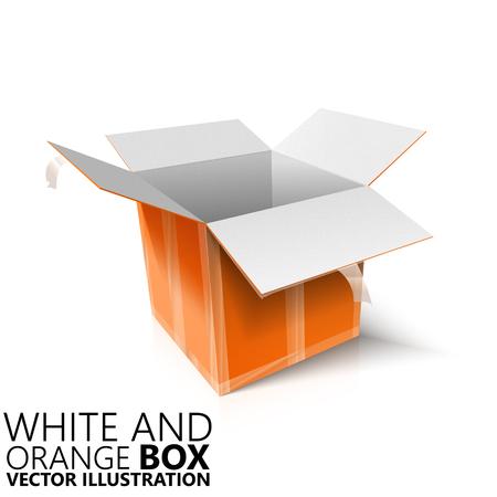 scotch: White and orange open box 3D vector illustration, design element Illustration