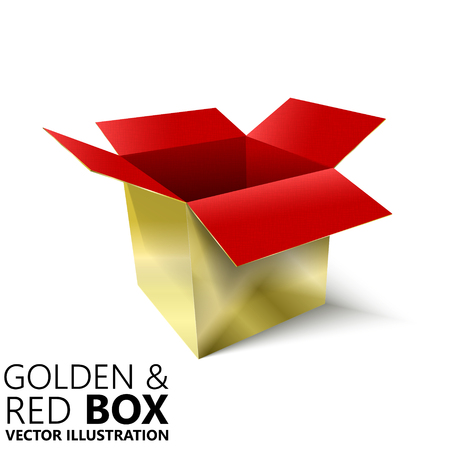 boiler: Red and golden open box 3D vector illustration, design element Illustration