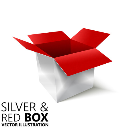 unoccupied: Red and silver open box 3D vector illustration, design element
