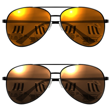 specular: Black Sunglasses on a white background. Beach reflection. Vector Illustration