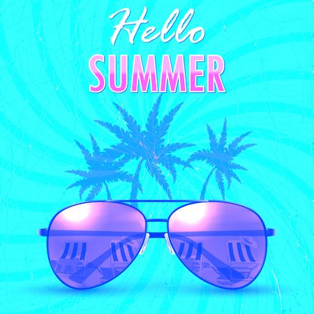Hello Summer. Summer backgroundbanner. Vector Illustration