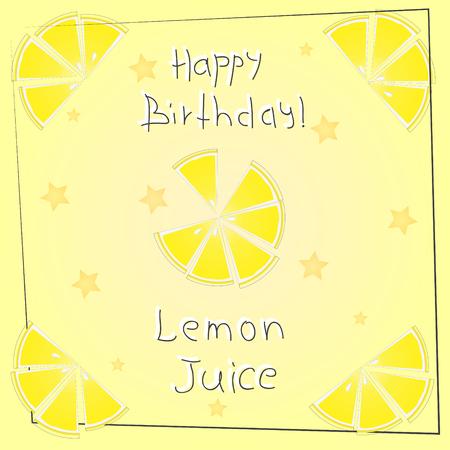 postcard happy birthday lemon juice Ilustracja