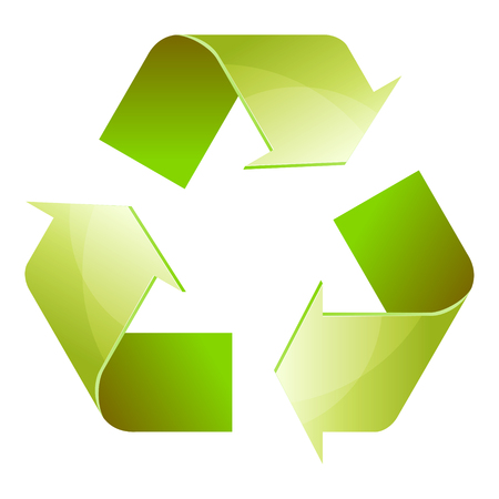 Recycle symbol of conservation green icon isolated on white background. 3D. Vector Illustration Illustration