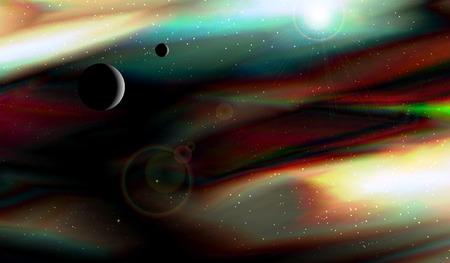 Deep space. Alien planet. Fractal image. Vector Illustration