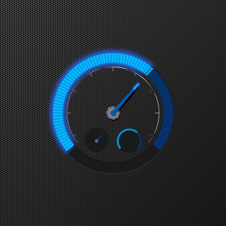 Blue speedometer on carbon background