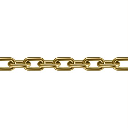 Metal golden chain 3D. Vector illustration. Ilustração