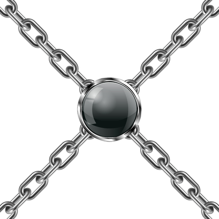 Metal chain and jewel 3D. Vector illustration.