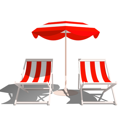 Recliners and Beach umbrella on a white background. Vector Illustration