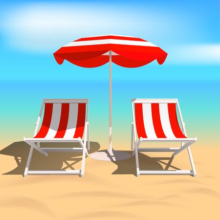 Recliners and Beach umbrella. Sea. Vector Illustration Stock Illustratie