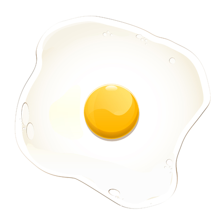 Egg fried on a white background. Vector Illustration